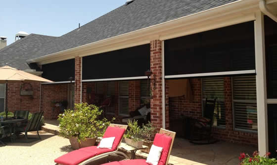 Electric retractable solar screens for houston covered for Retractable deck screens