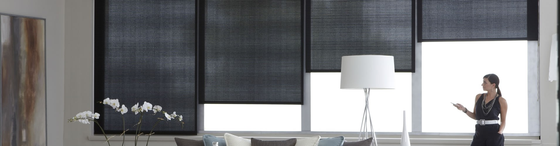 Houston tx window shades motorized roman roller shade for Electric skylight shades motorized blinds
